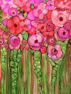 Mixed Media - Poppy Bloomies 1 - Pink by Carol Cavalaris