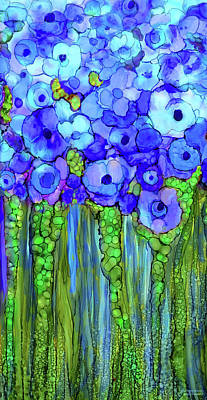 Mixed Media - Poppy Bloomies 2 - Blue by Carol Cavalaris