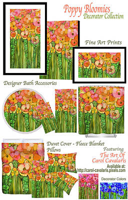 Mixed Media - Poppy Bloomies Decorator Collection by Carol Cavalaris