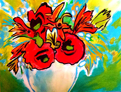 Painting - Poppy Bouquet Reworked by Nikki Dalton