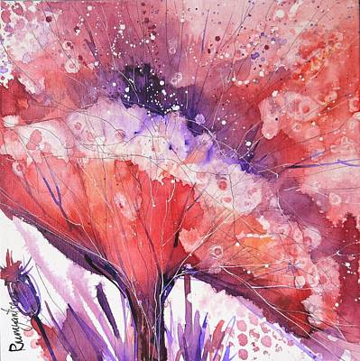 Red Poppies Painting - Poppy Burst 4 by Irina Rumyantseva