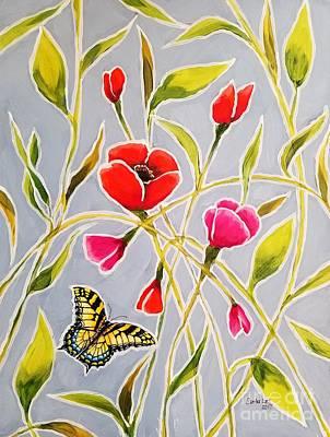 Painting - Poppy Butterfly I by Sandra Lett