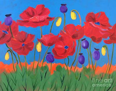 Painting - Poppy Chorus Line by Barbara Tibbets