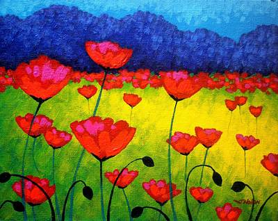 Irish Painting - Poppy Cluster by John  Nolan