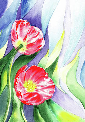 Painting - Poppy Couple Gentle Wind by Irina Sztukowski