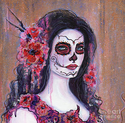 Poppy Day Of The Dead Art Print by Renee Lavoie