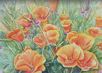 Poppies Field Painting - Poppy Days by Patricia Pushaw