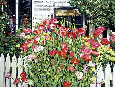 Shrubbery Painting -  Poppy Fence by David Lloyd Glover