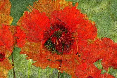 Digital Art - Poppy Field 14 by Lynda Lehmann