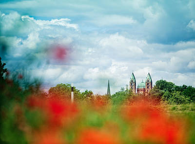 Poppies Field Photograph - Poppy Field And Speyer Cathedral by Nailia Schwarz