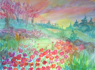 Painting - Poppy Field At Sunrise by Ellen Levinson
