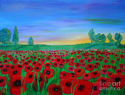 Painting - Poppy Field At Sunset by Karen Jane Jones