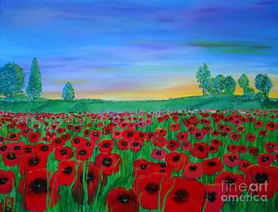 Poppy Fields Painting - Poppy Field At Sunset by Karen Jane Jones