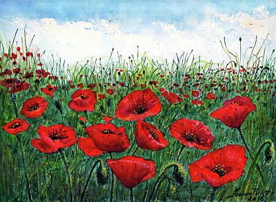 Poppies Field Painting - Poppy Field by Franco Puliti