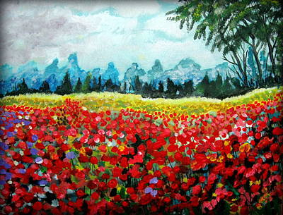 Painting - Poppy Field by Mike Benton