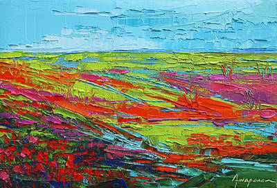 Vivid Colour Painting - Poppy Field Modern Abstract Impressionistic Oil Painting Palette Knife by Patricia Awapara