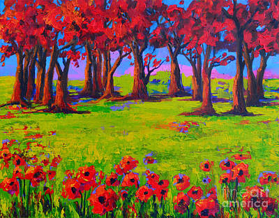 Painting - Poppy Field Modern Landscape Colorful Palette Knife Work 2 by Patricia Awapara
