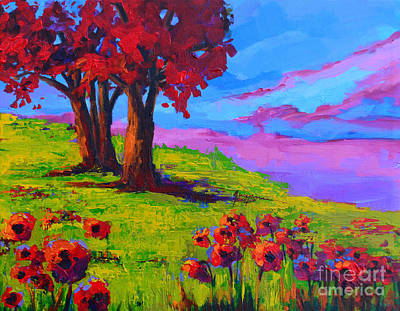 Painting - Poppy Field Modern Landscape Colorful Palette Knife Work  by Patricia Awapara
