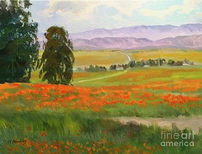 Eucalyptus Painting - Poppy Field Panorama Lancaster California Poppy Field 9 X 12 Pai by Karen Winters
