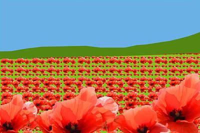 Digital Art - Poppy Field by Roger Lighterness