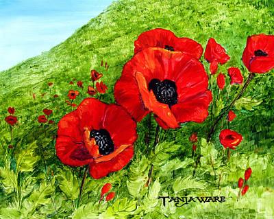Poppies Field Painting - Poppy Field by Tanja Ware