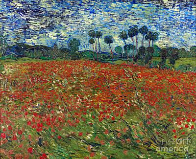 Poppies Field Painting - Poppy Field by Van Gogh
