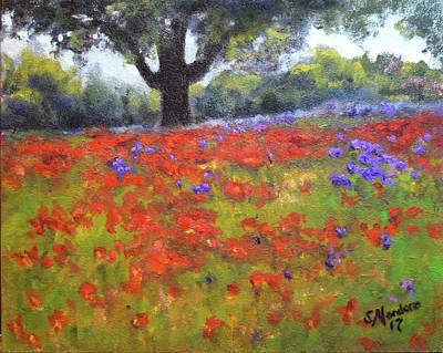 Painting - Poppy Field W Tree by Sandra Nardone