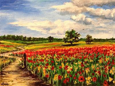 Painting - Poppy Fields by Art By Three Sarah Rebekah Rachel White