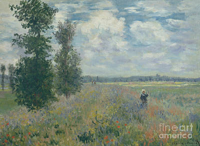 Poppies Field Painting - Poppy Fields Near Argenteuil, 1875 by Claude Monet