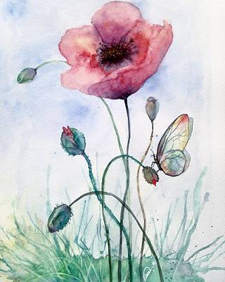Painting - Poppy Flowe And The Butterflie by Alban Dizdari
