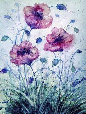 Painting - Poppy Flower by Alban Dizdari