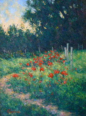 Poppy Garden Art Print by Gene Cadore