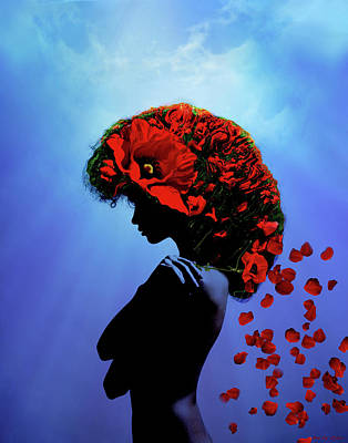 Surrealism Digital Art Rights Managed Images - Poppy Girl Royalty-Free Image by Lilia D