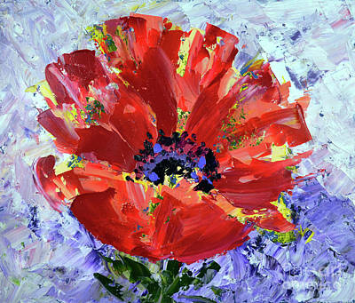 Painting - Poppy In Fields Of Lavender by Lynda Cookson