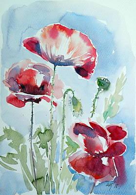 Poppies Field Painting - Poppy by Kovacs Anna Brigitta