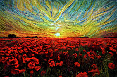 Mixed Media - Poppy Landscape Sunset by Lilia D