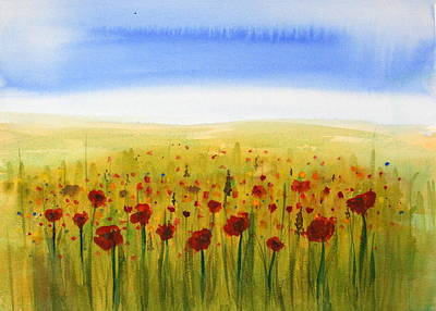 Julie Lueders Artwork Painting - Poppy Meadow by Julie Lueders