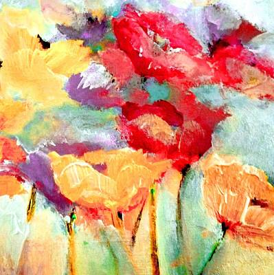 Digital Art - Poppy Orange Red And Plum by Lisa Kaiser