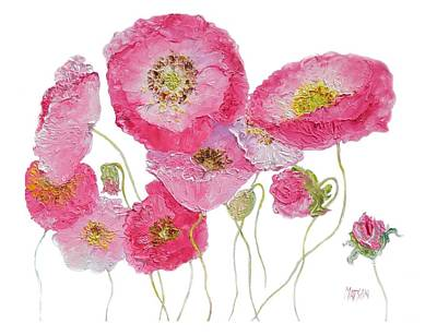 Print Of Poppy Painting - Poppy Painting On White Background by Jan Matson