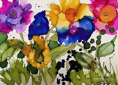 Alcohol Ink Wall Art - Painting - Poppy Party by Marcia Breznay