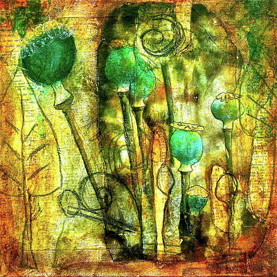 Mixed Media Royalty Free Images - Poppy Pods Royalty-Free Image by Bellesouth Studio