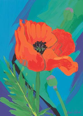 Green Color Painting - Poppy by Sarah Gillard