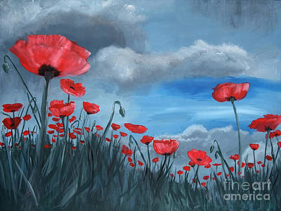 Stormy Weather Painting - Poppy Storm by Jamie Hartley