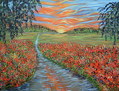 Sun Rays Painting - Poppy Sunset by Kathy Symonds