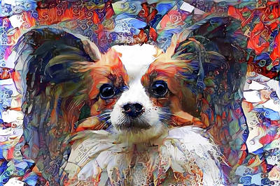 Digital Art - Poppy The Papillon Dog by Peggy Collins