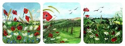 Painting - Poppy Tryptic by Carol Rowland