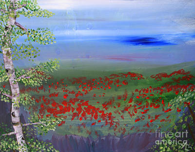 Garden Scene Painting - Poppy Valley by Jamie Hartley