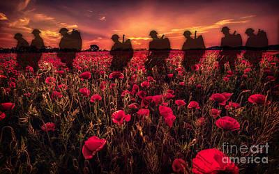 Soldier Digital Art - Poppy Walk by J Biggadike