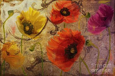Orange Poppy Painting - Poppy Waltz by Mindy Sommers