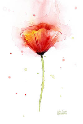 Poppies Art Painting - Poppy Watercolor Red Abstract Flower by Olga Shvartsur